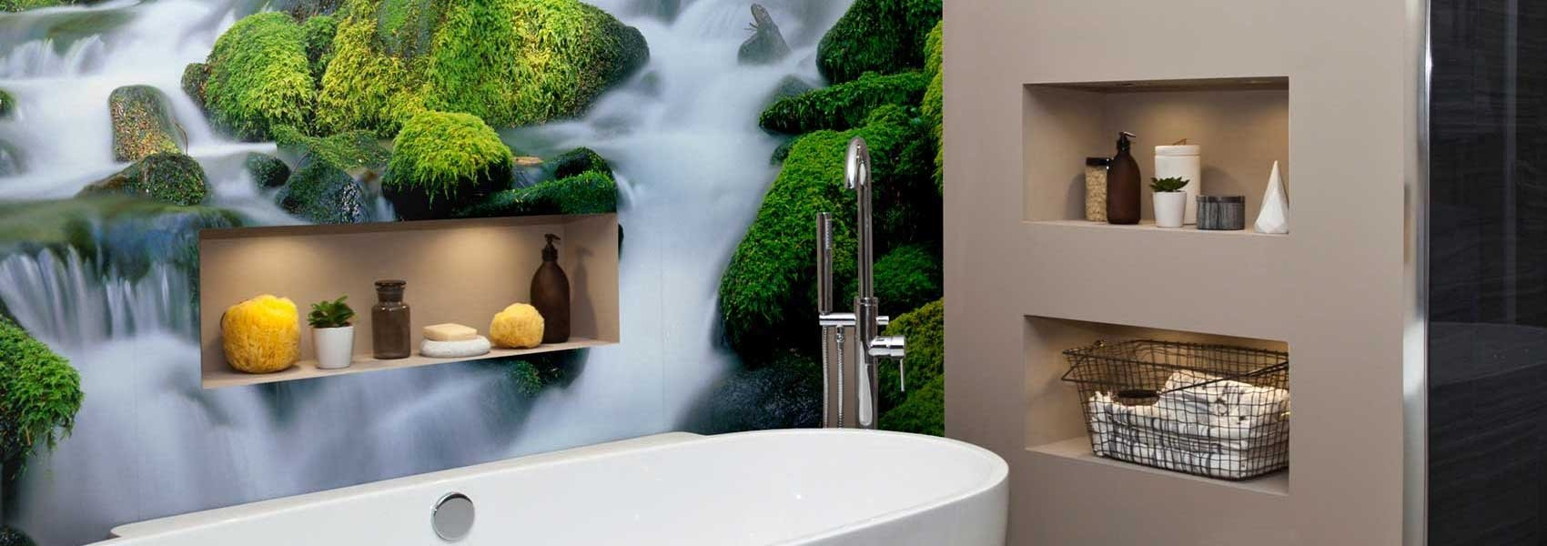 waterfall mural in home bathroom