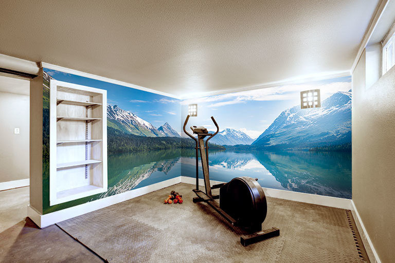 home gym with mountain wall mural
