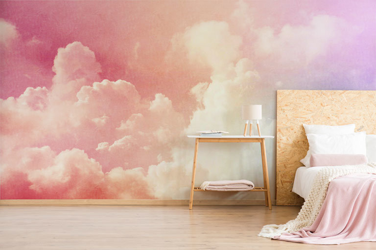 bedroom with ombre clouds wallpaper mural