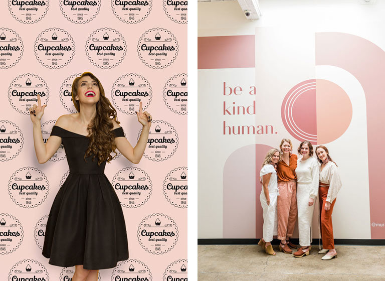 photos of women in front of branded wallpaper murals at events