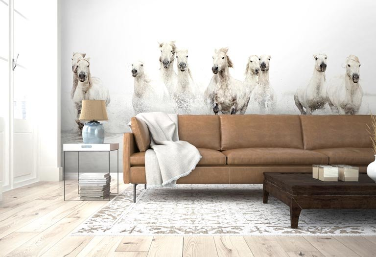 horse wall mural in a living room