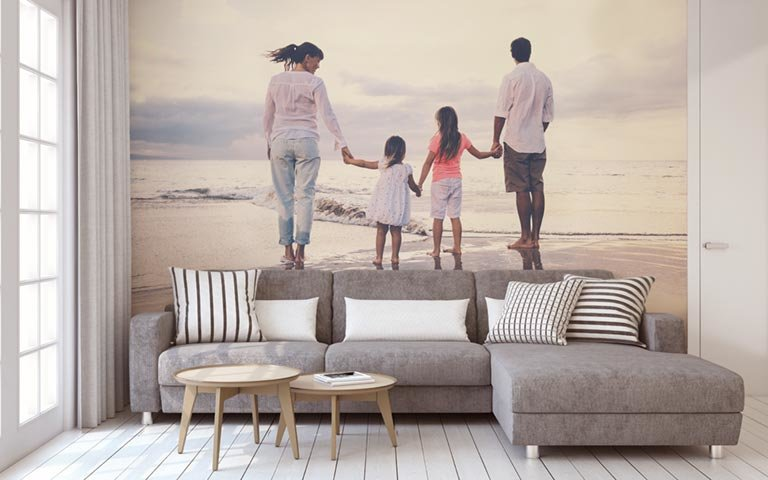 personalized photo wall mural in a living room