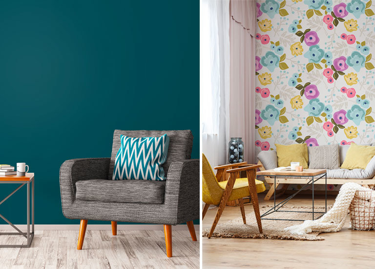 living room with painted wall and living room with Bloom Pattern Wallpaper