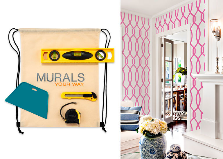 wallpaper installation supplies and living room with pattern wallpaper