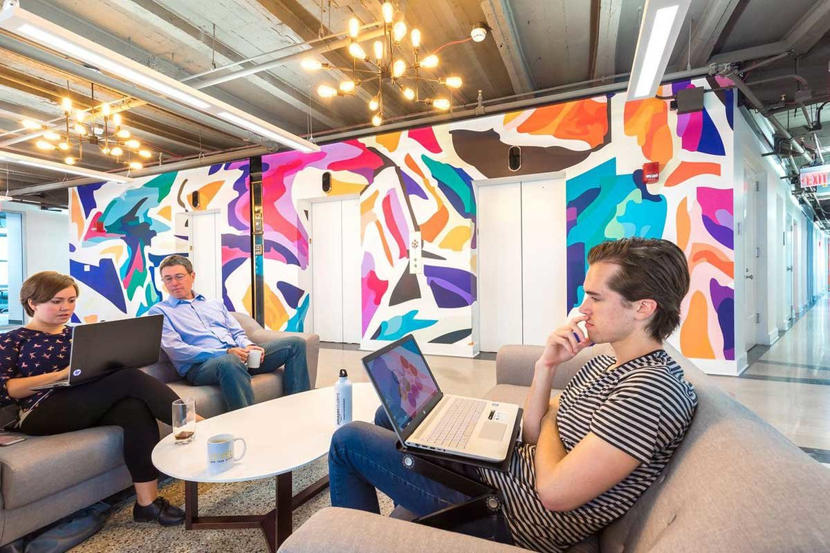 Office space with Abstract Graffiti Wall Mural