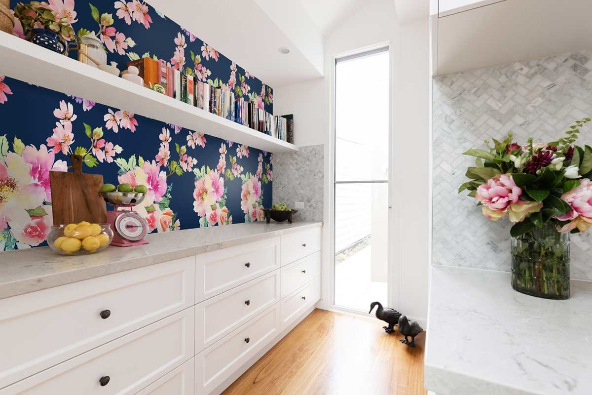Butler's Pantry with Watercolor Blooms Pattern Wallpaper
