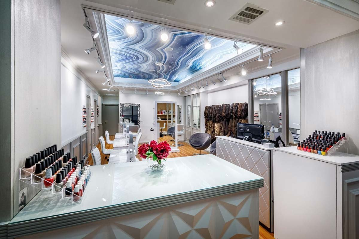 Salon with The Polished Cut of Agate ceiling mural
