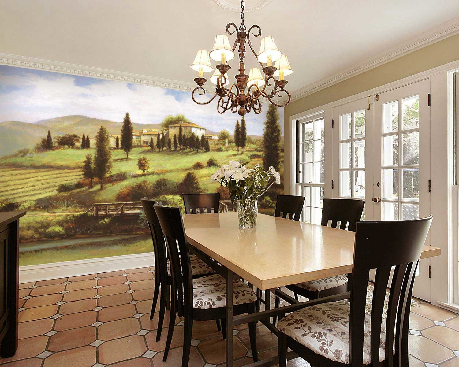 tuscan wallpaper in dining room