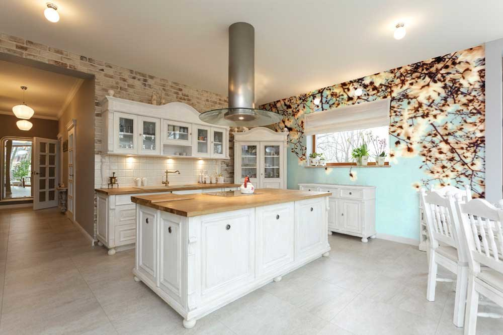 floral wall mural in kitchen