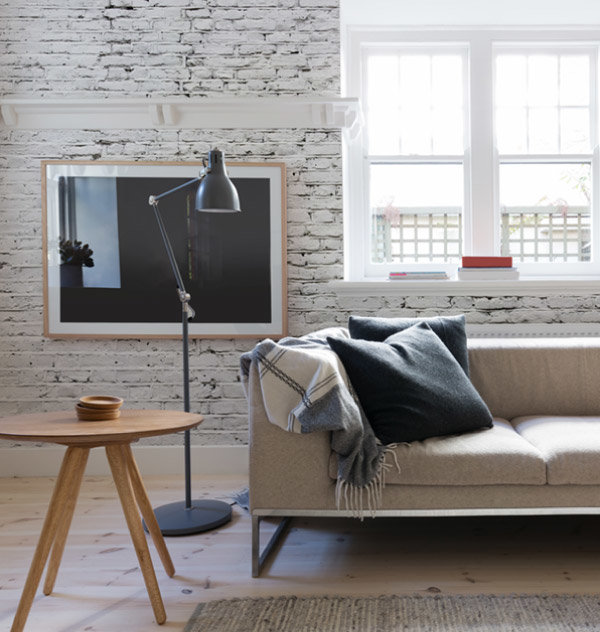 Cracked White Brick Wall Mural Wallpaper in living room