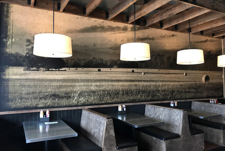 Custom Wallpaper Mural in restaurant