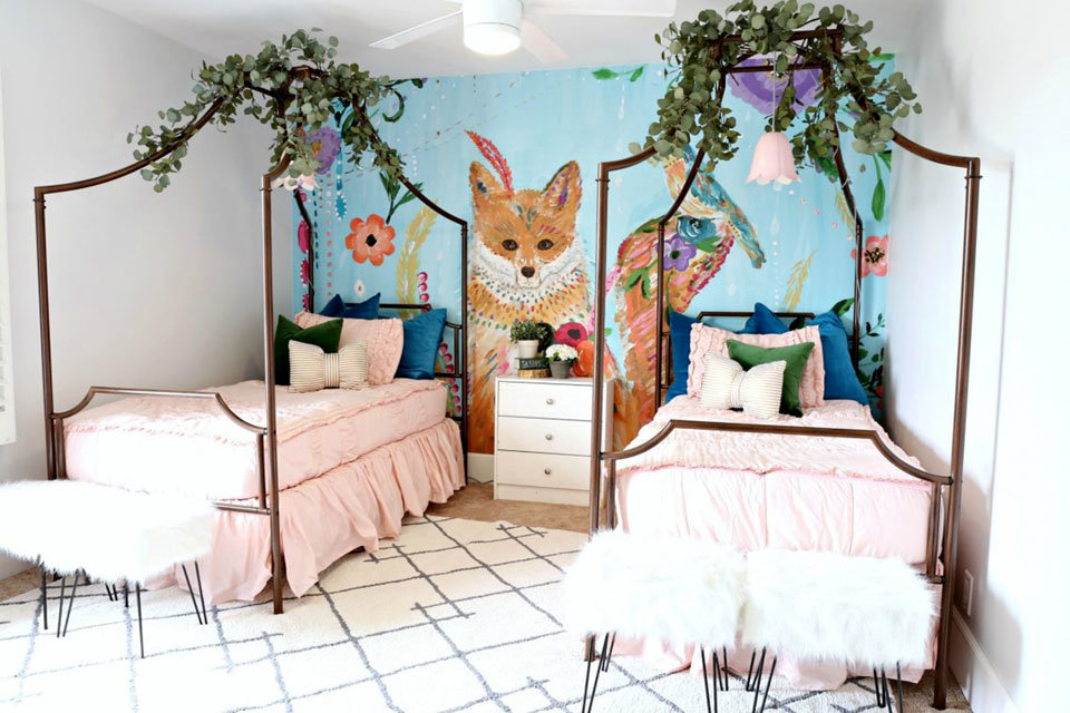 Fox in the Garden Wall Mural in girls bedroom