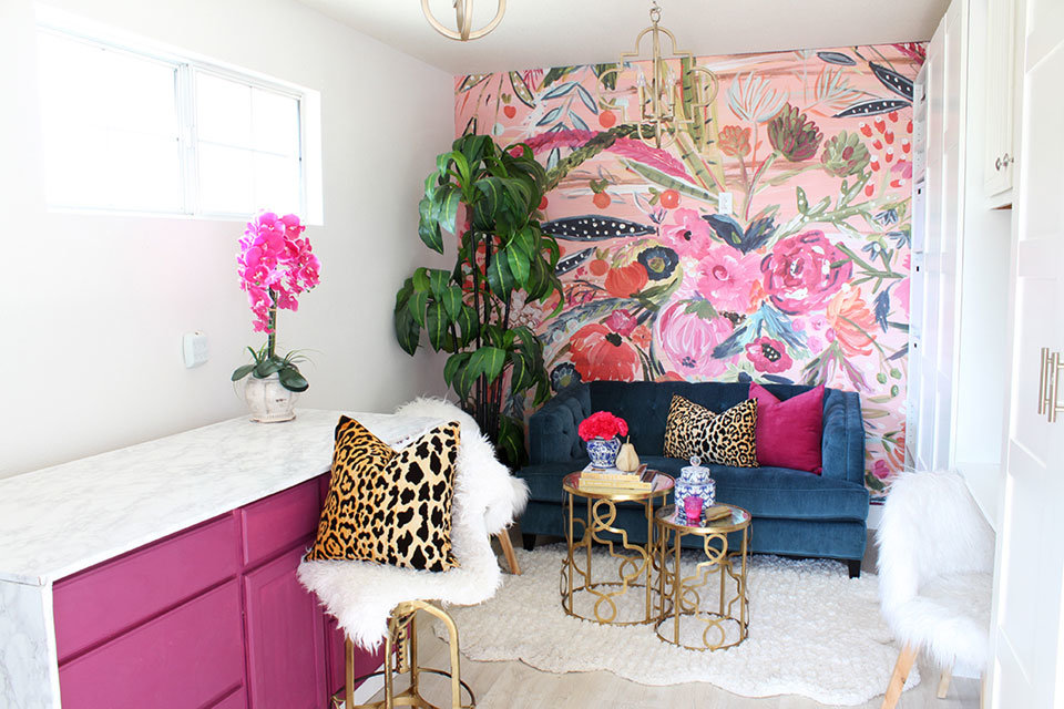 Pink Flowers Mural Wallpaper in home office