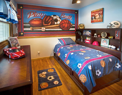 kids bedroom mural with sports
