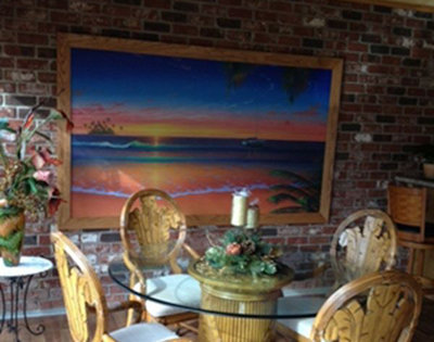 small tropical sunset mural