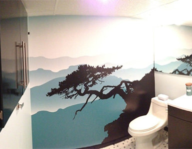 Scenic Wallpaper Murals in Bathroom