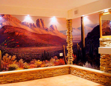 Landscape Mural Wallpaper in Family Room