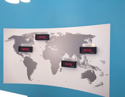 World Map Wallpaper with Clocks