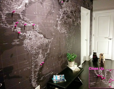 Black and White World Map Mural
