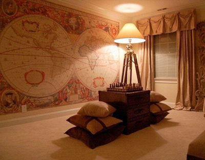Large vintage maps wallpaper mural