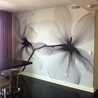 Black and white magnolia mural