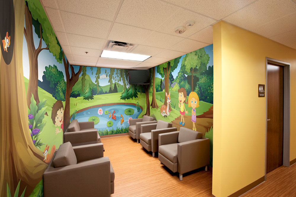 Friendly Forest Room Wrap Wall Mural in waiting area