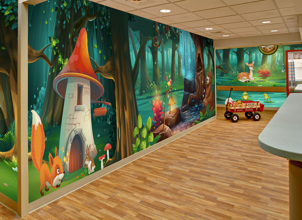enchanted forest room wrap wall mural in hospital