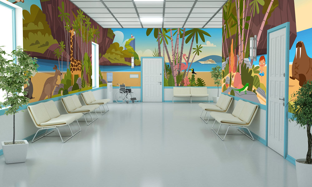 endless beach room wrap wall mural in hospital