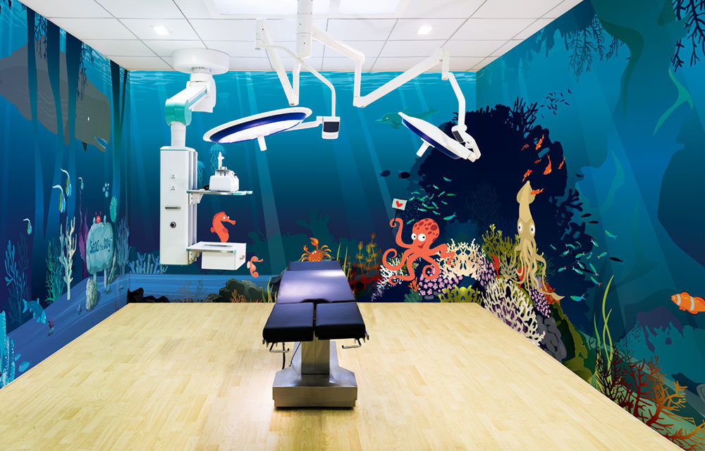 make waves room wrap wall mural in operating room