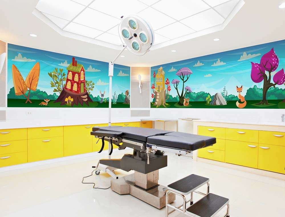 woodland creatures room wrap wall mural in hospital