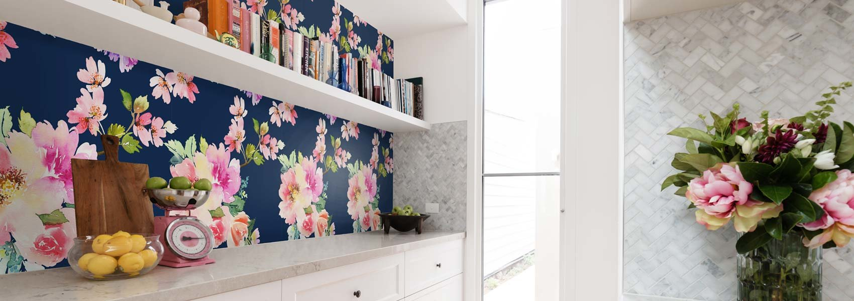 floral mural in kitchen pantry