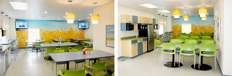 after photos of cafeteria room with custom wheat mural