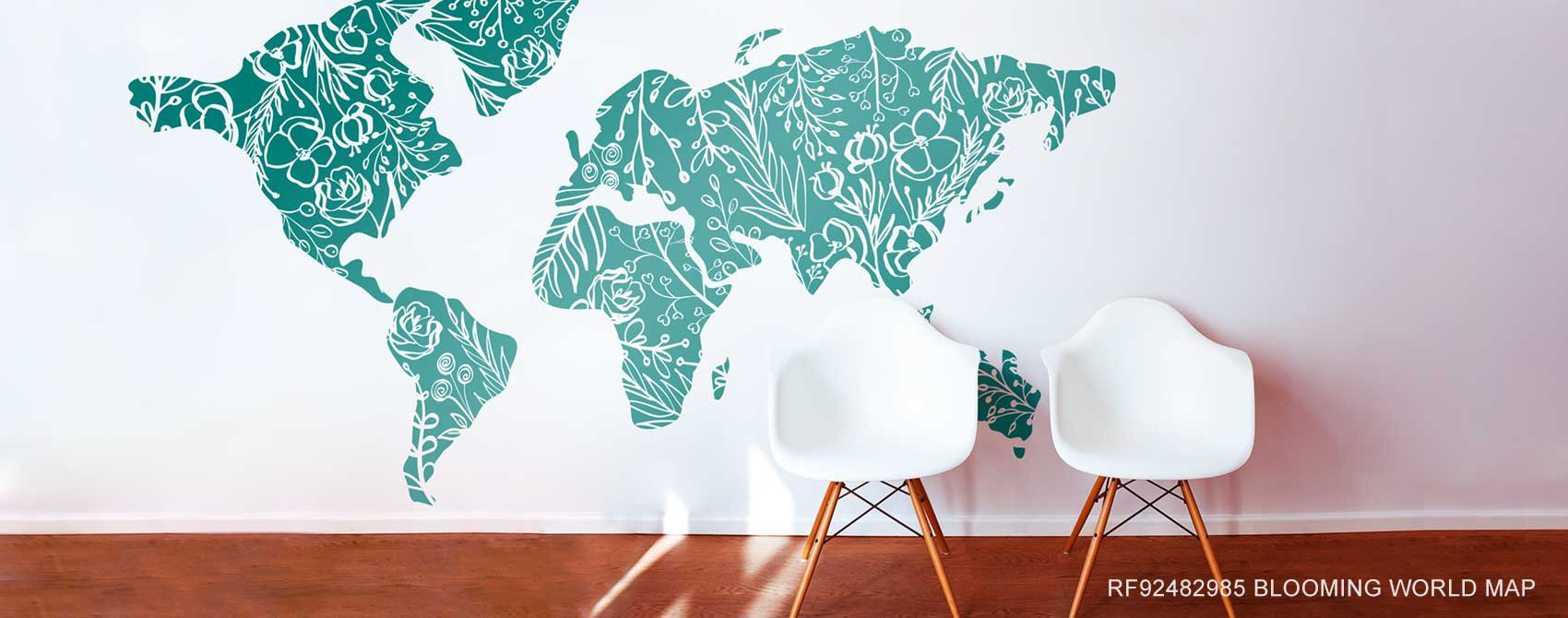 Blooming Flowers World Map Mural