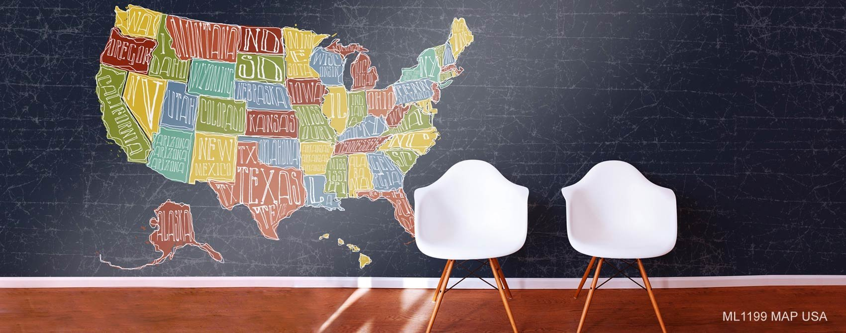 Map USA Wallpaper Mural