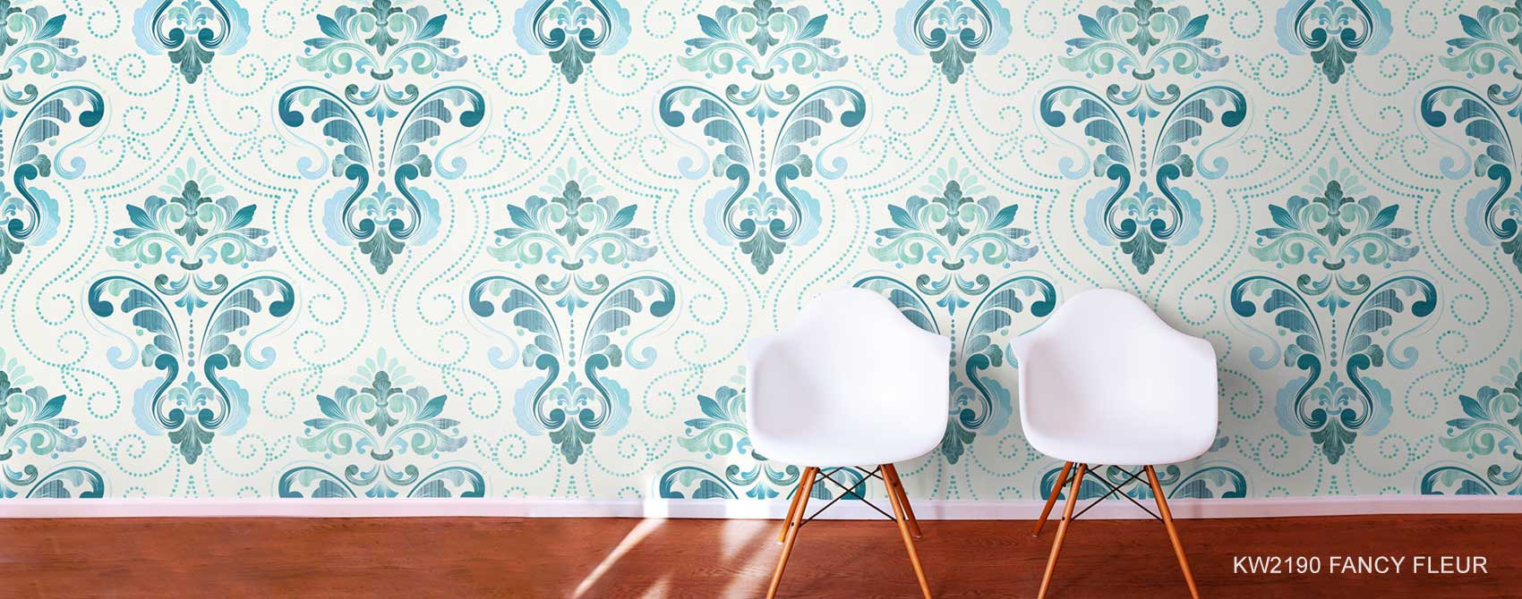 Fancy Fleur Wallpaper In Blues