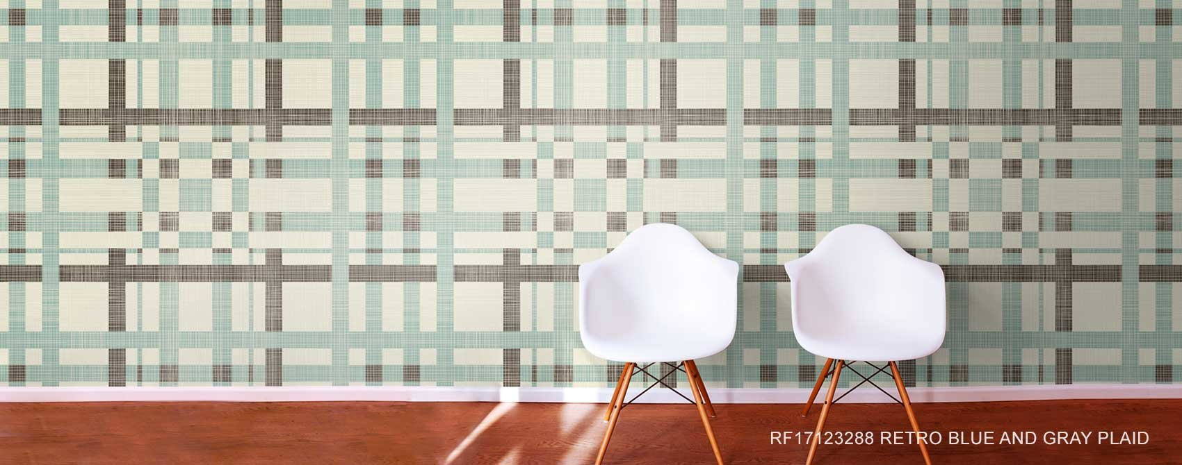 Retro Blue And Gray Plaid Wallpaper