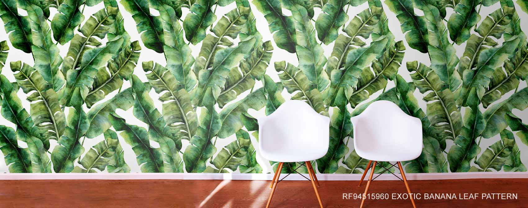 Exotic Banana Leaf Pattern Wallpaper