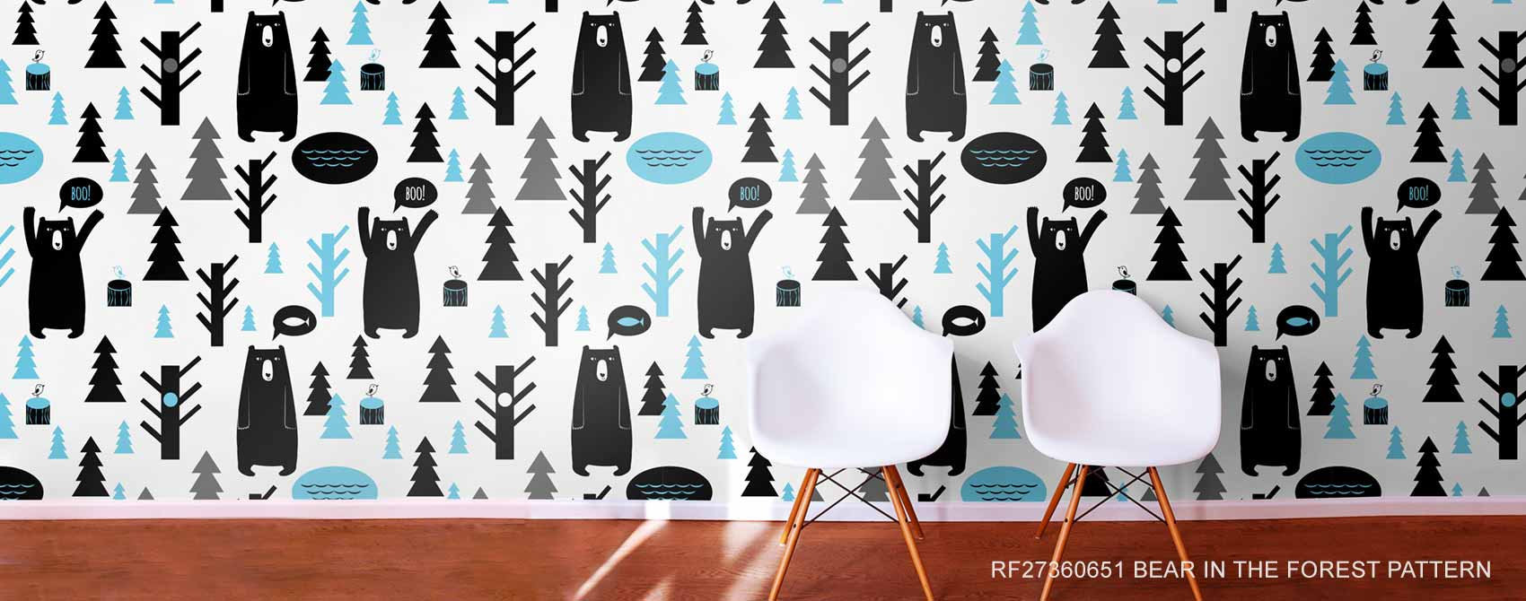 Bear in the Forest Pattern Kids Removable Wallpaper