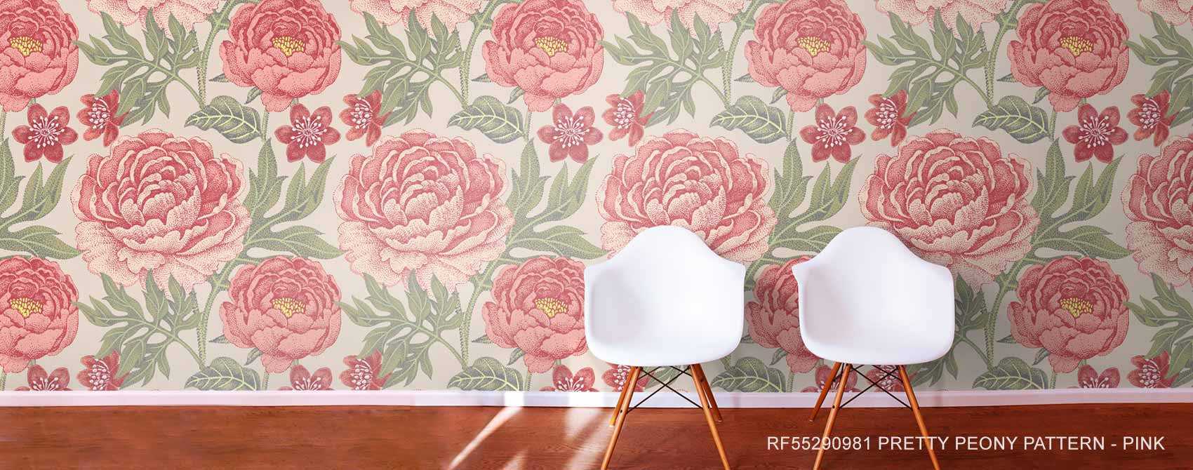Pretty Peony Pattern - Pink wallpaper mural