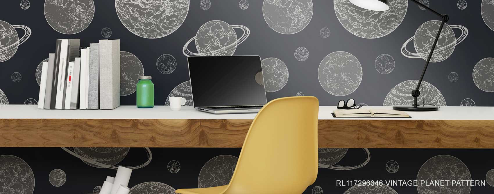 Vintage Planet Pattern Wallpaper Mural