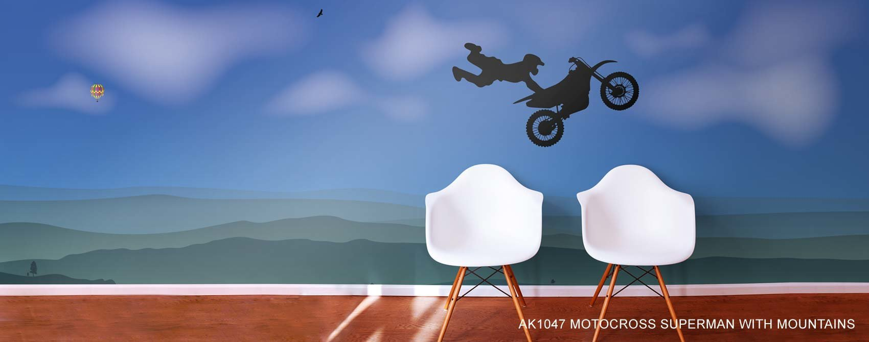 motorcross superman with mountains wallpaper mural