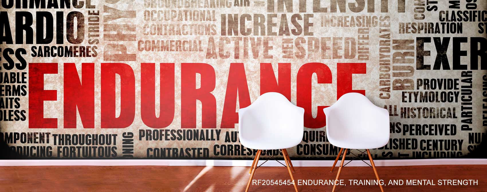 Endurance, Training, And Mental Strength Word Cloud Wall Mural