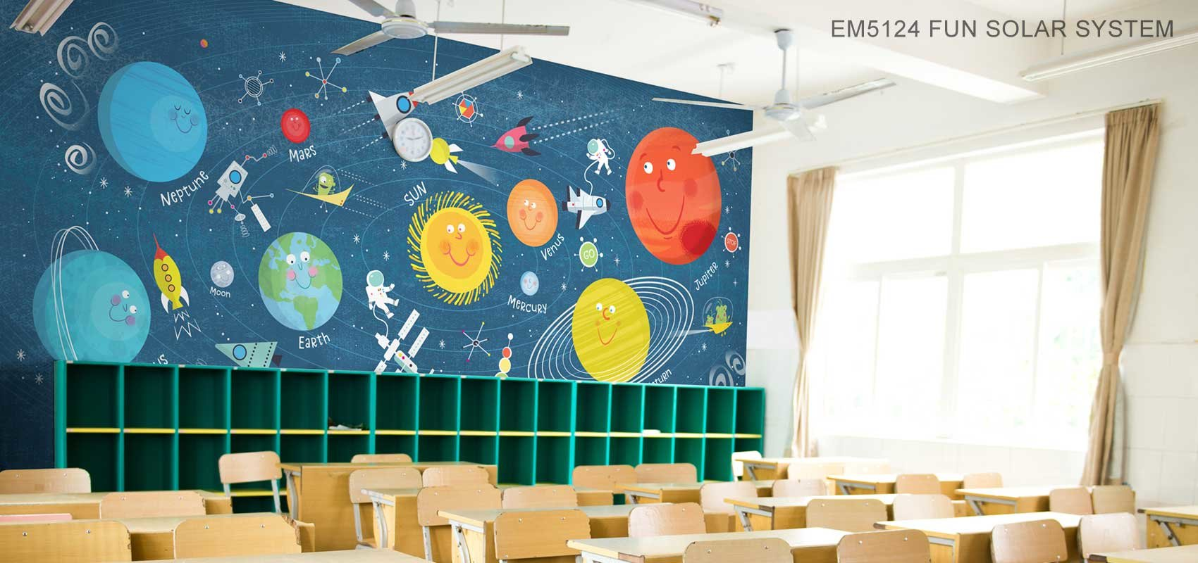 Fun Solar System Mural Wallpaper