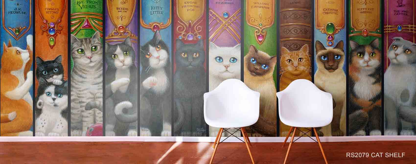 Cat Shelf Wall Mural