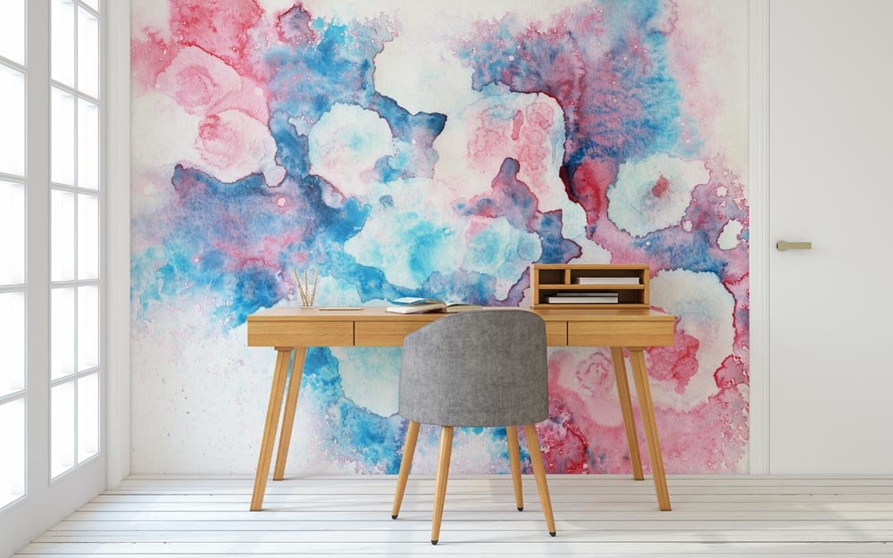 Transcendent Blues And Pinks Wallpaper Mural in home office