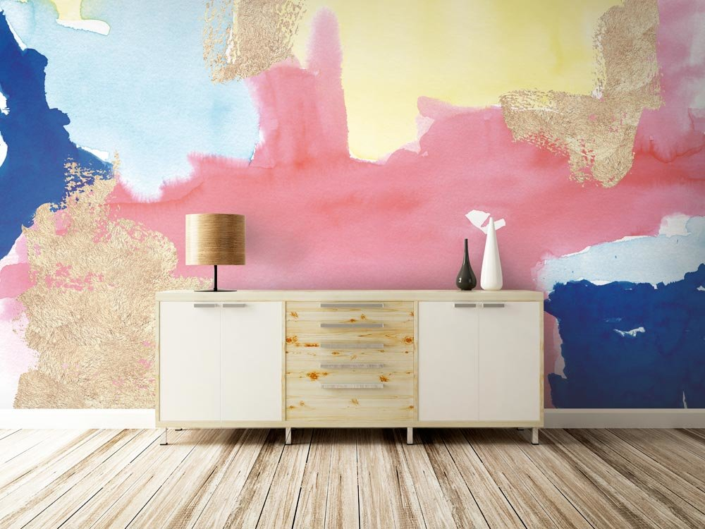 Gold Foil Pastels Wall Mural in living room