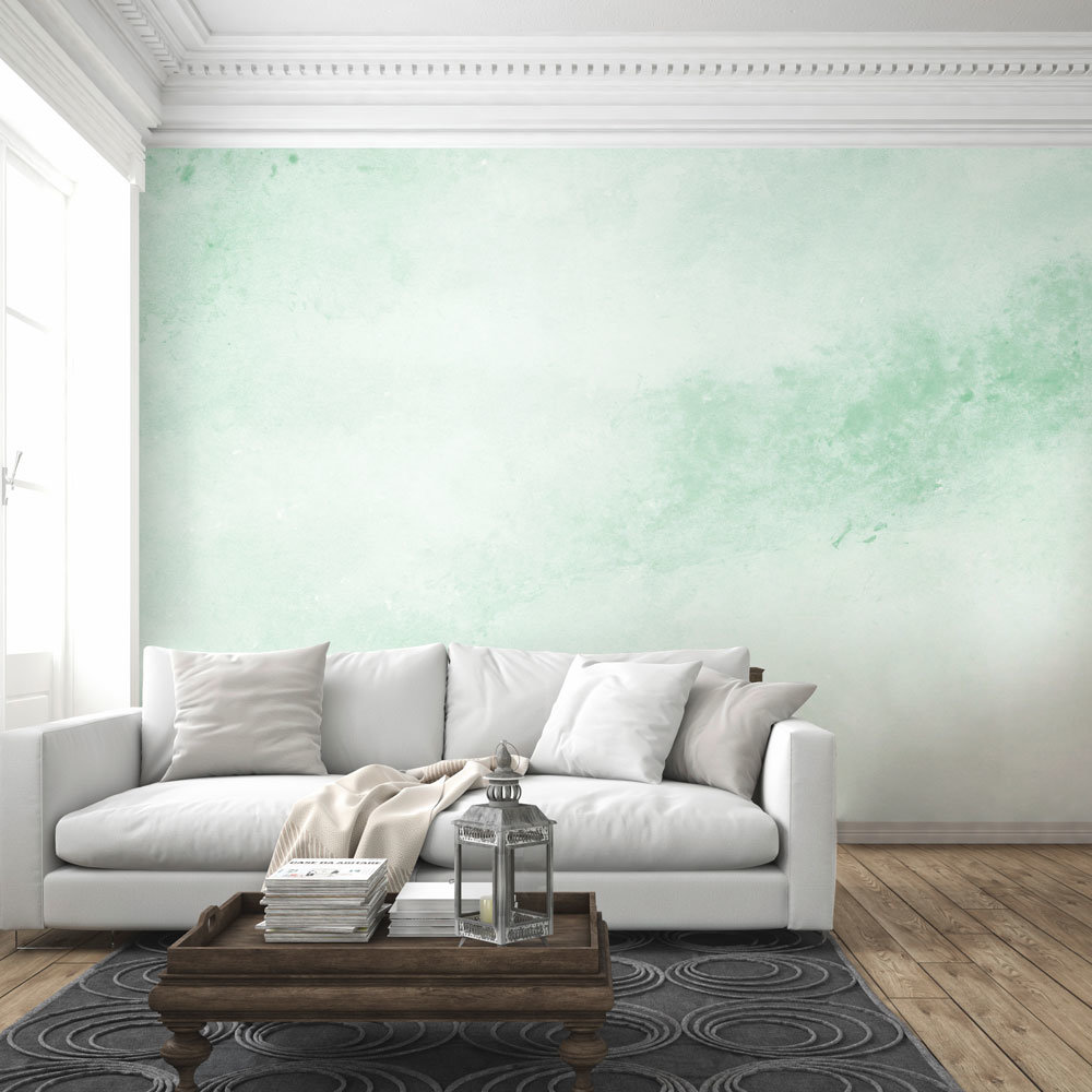Mint Green Watercolor Texture Wall Mural in living room