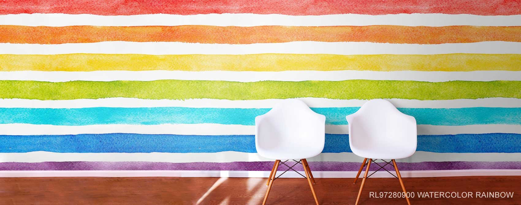 Watercolor Rainbow Wall Mural