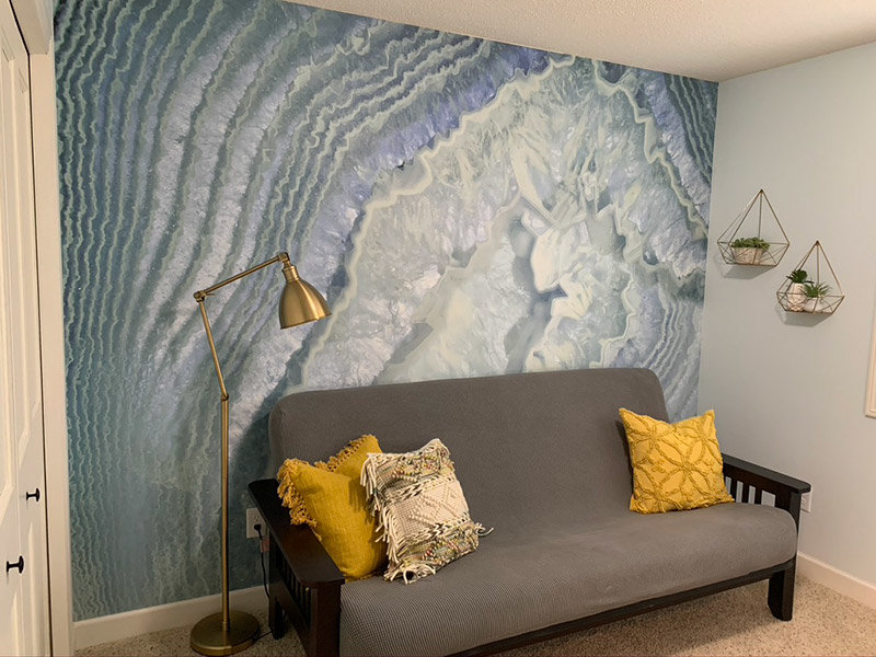 Ice Blue Agate Geode Wallpaper Mural in home office