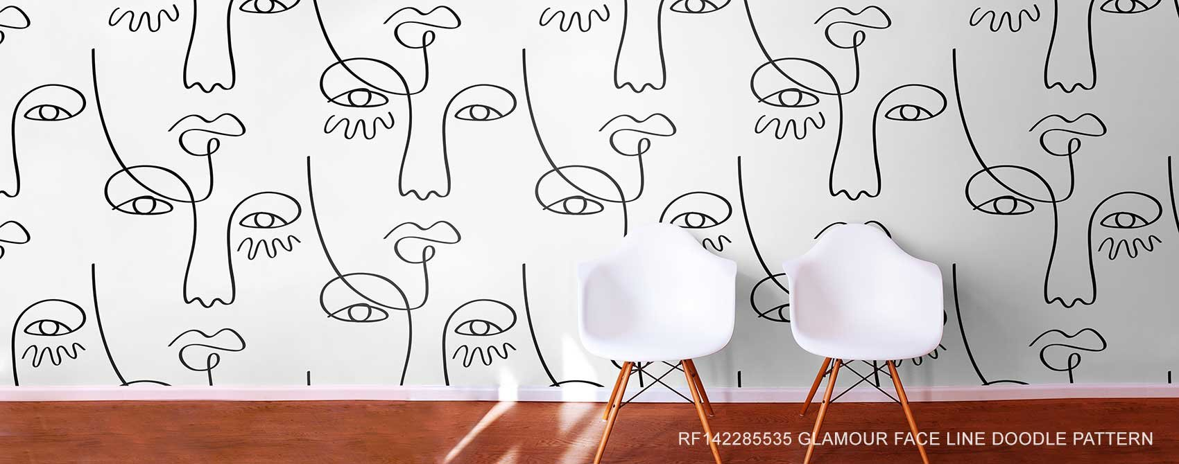 Glamour Face Line Doodle Pattern Wallpaper